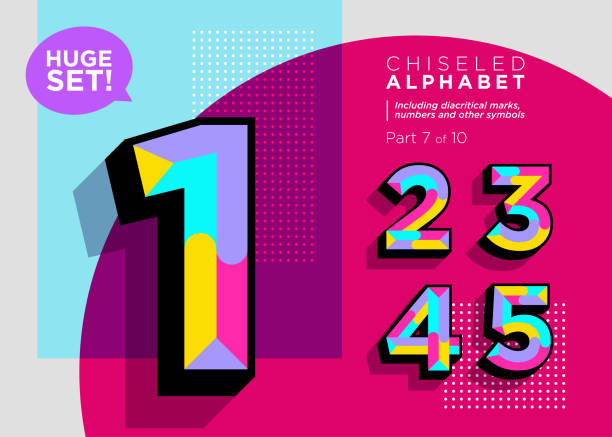 illustrazioni stock, clip art, cartoni animati e icone di tendenza di vector mosaic typeset. textured geometric type. trendy polygonal typography for music poster, sale card, fest banner, game design. retro vibrant alphabet. colorful hipster background. funky font. - calcolare