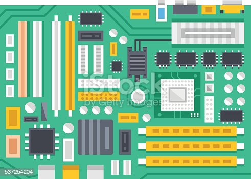 Vector motherboard illustration. Computer main printed circuit board. Flat design