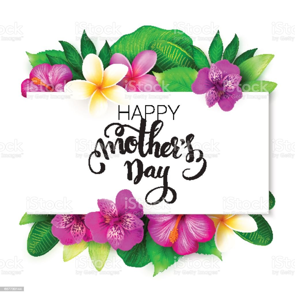 Vector mothers day greetings card with hand lettering happy mothers vector mothers day greetings card with hand lettering happy mothers day with tropical flowers m4hsunfo