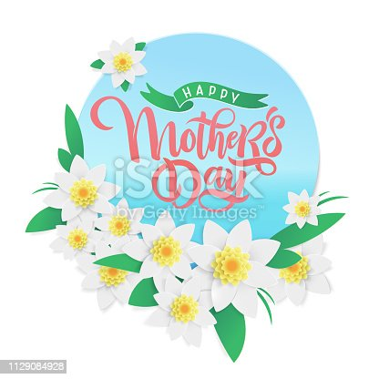 Vector Mother's day springtime greeting card, festive beautiful calligraphy lettering, spring red and pink blossom flowers frame background, ribbon. Text Happy Mother's Day for celebration MOM day.