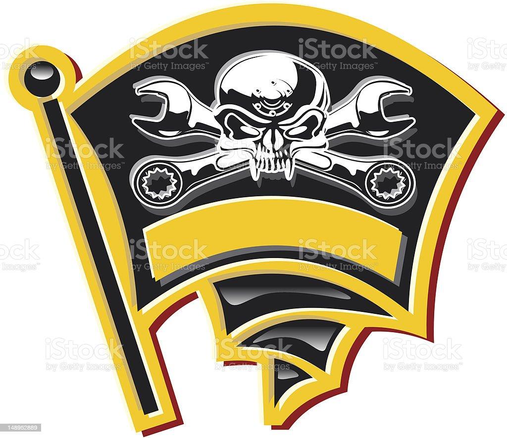 Vector moto-Jolly Roger badge royalty-free stock vector art