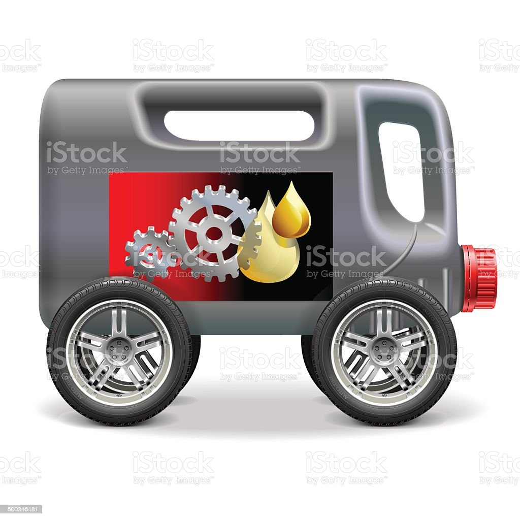 Vector Motor Oil on Wheels vector art illustration