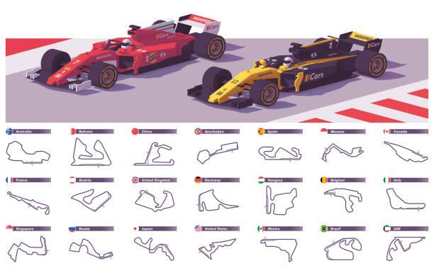 vector motor racing tracks - formula 1 stock illustrations