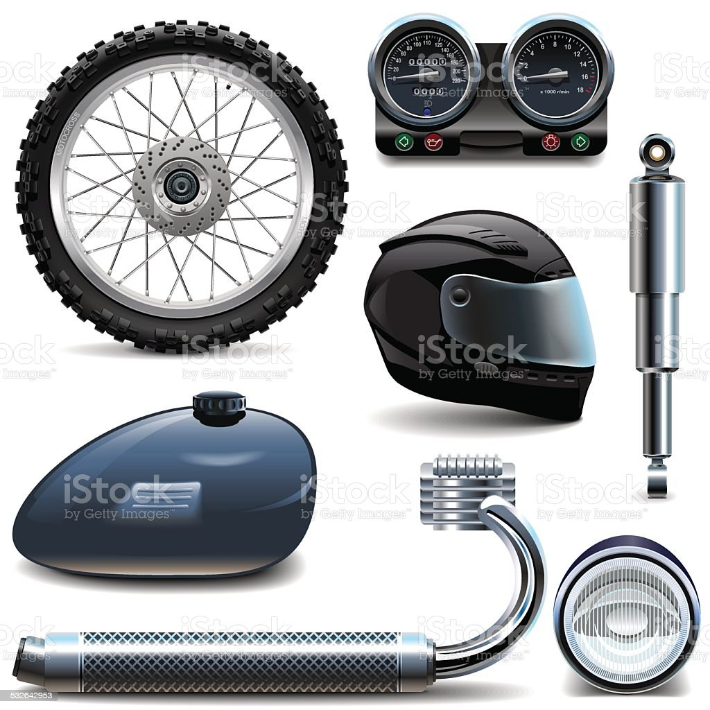 Vector Motorcycle Spares Icons vector art illustration