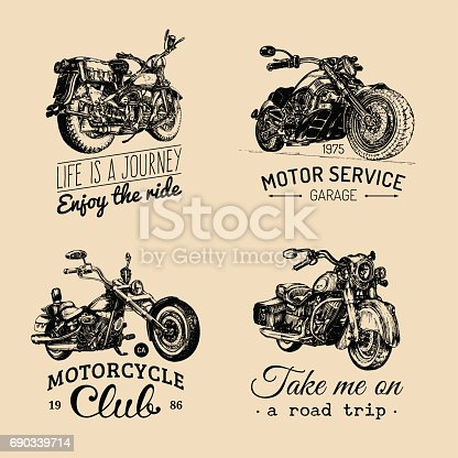 Vector motorcycles inspirational, advertising posters set. Hand sketched illustrations for MC badges. Detailed bikes labels for custom company, chopper store, garage, t-shirt print.