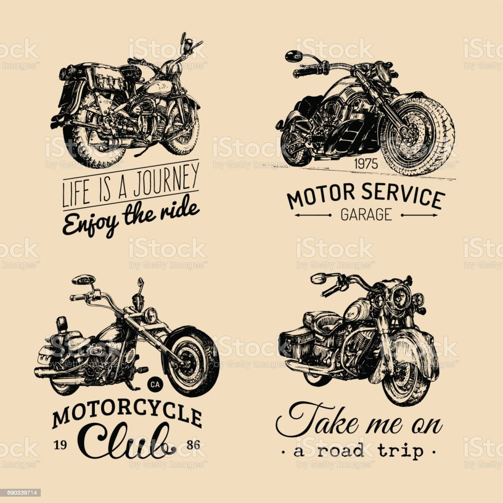 Vector motorcycles inspirational,advertising posters set.Hand sketched illustrations for MC labels.Detailed bikes drawings. vector art illustration