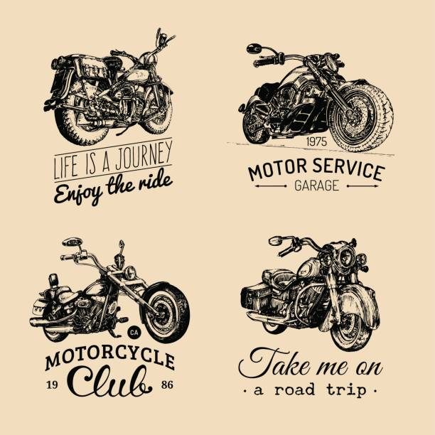 vector motorcycles inspirational,advertising posters set.hand sketched illustrations for mc labels.detailed bikes drawings. - motorcycle stock illustrations, clip art, cartoons, & icons
