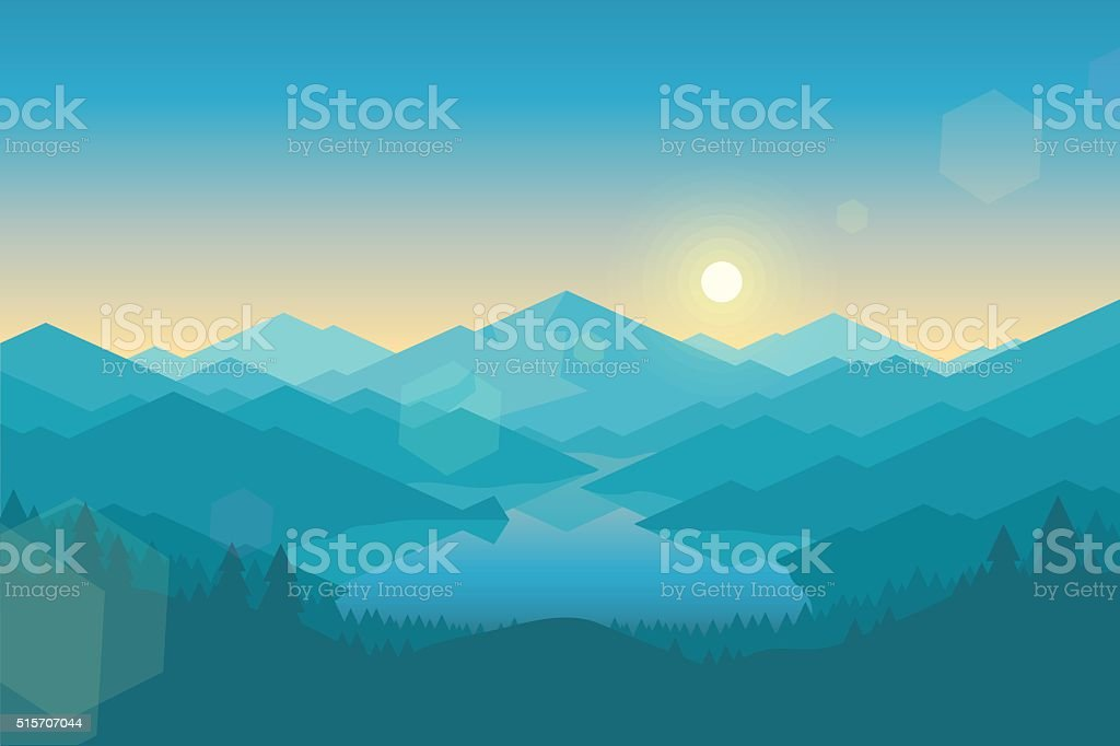 Vector mountain and forrest landscape early in the morning. vector art illustration