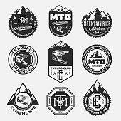 Vector mountain biking adventures, parks, clubs logo, badges and icons. Enduro, downhill, cross  country biking illustration