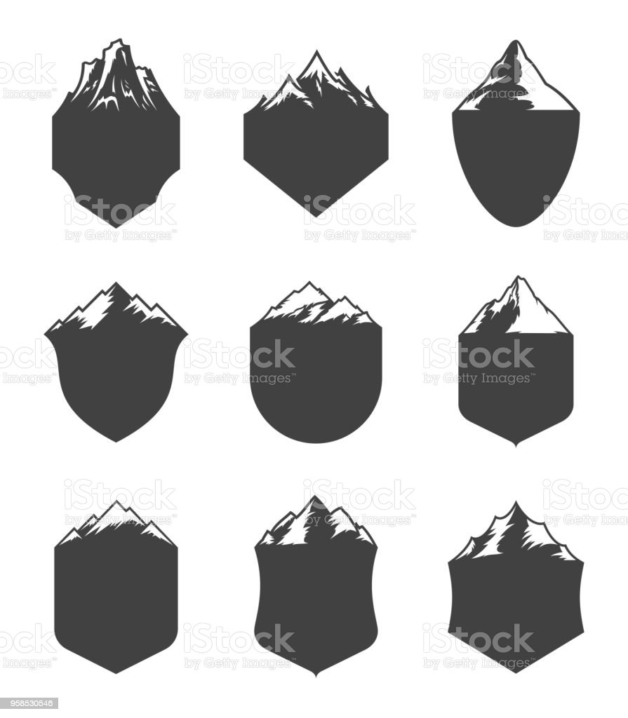 Vector mountain blank badges vector art illustration