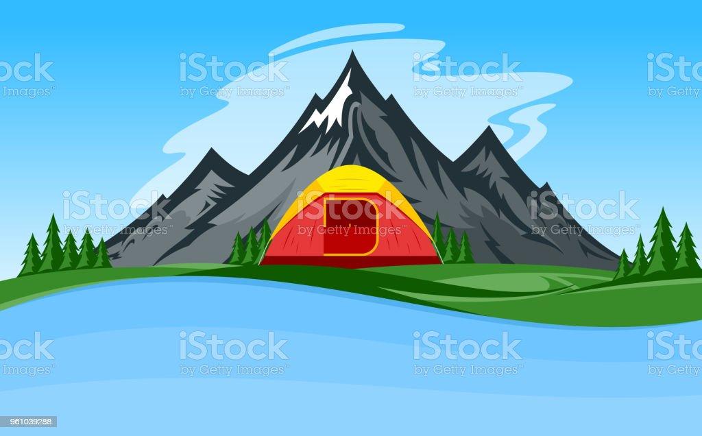 Vector mountain camping illustration vector art illustration