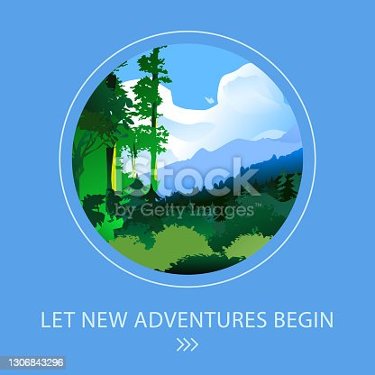istock Vector mountain landscape. Amazing colorful iilustration. Summer time 1306843296