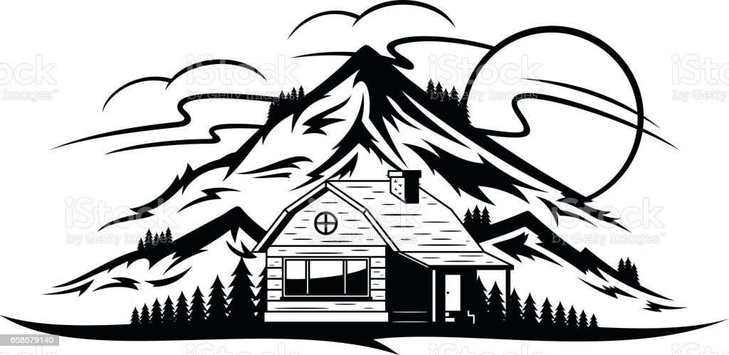 Vector mountain landscape with wooden cabin vector art illustration
