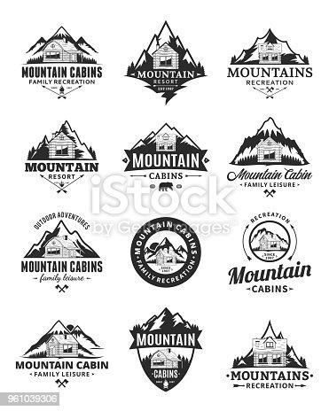 Set of vector mountain adventures, outdoor recreation and cabin rentals badges.
