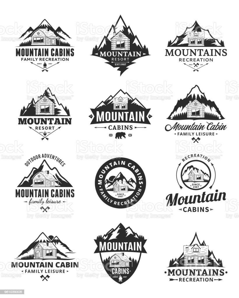 Vector mountain recreation and cabin rentals badges vector art illustration