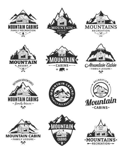 vector mountain recreation and cabin rentals badges - log cabin stock illustrations, clip art, cartoons, & icons