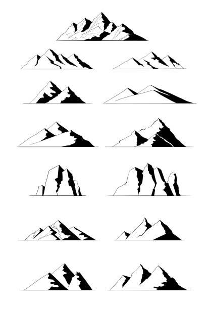 Vector Mountain Set-Illustration. – Vektorgrafik