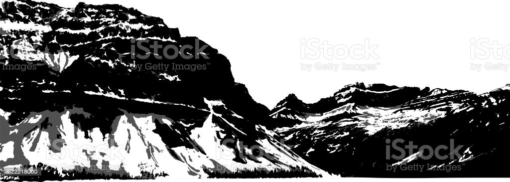 Vector Mountain Silhouette In Black, White, And Grey vector art illustration