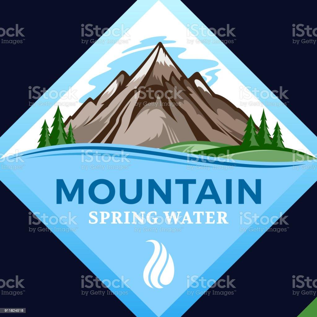 Ícone de água de montanha de vetor - ilustração de arte em vetor