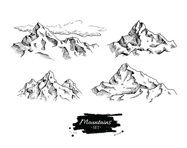 vector mountains drawing. hand drawn mountains illustrations. - black and white mountain stock illustrations, clip art, cartoons, & icons