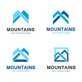 Set of elements for icon design mountain resorts