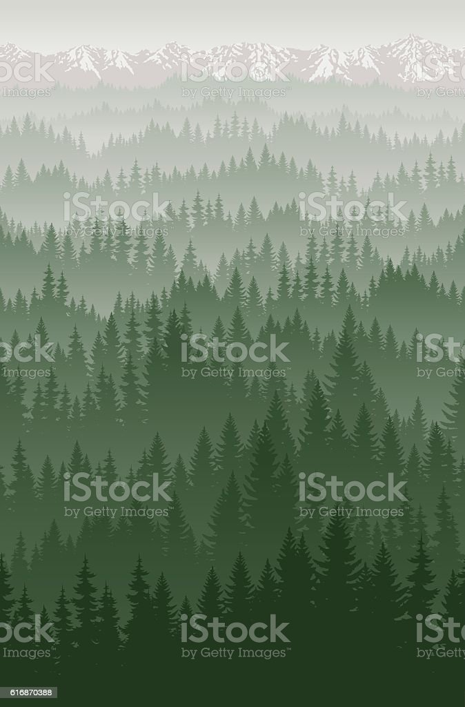 vector mountains forest with fog background texture seamless pattern vector art illustration