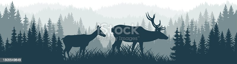 istock vector mountains forest woodland background texture seamless pattern with couple of white tailed deers 1305549849