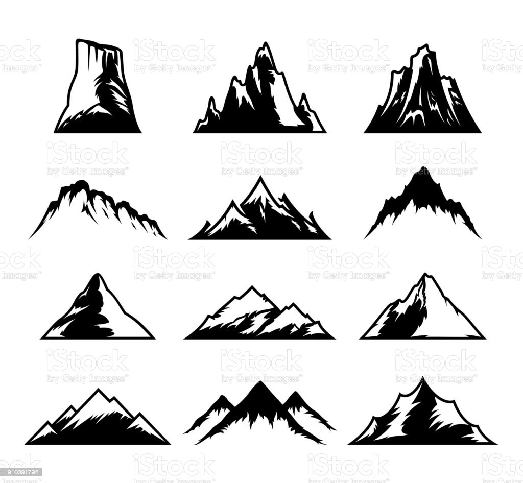 Vector mountains icons isolated on white vector art illustration