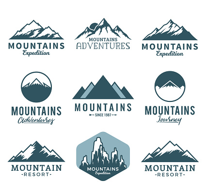Vector mountains icons clipart