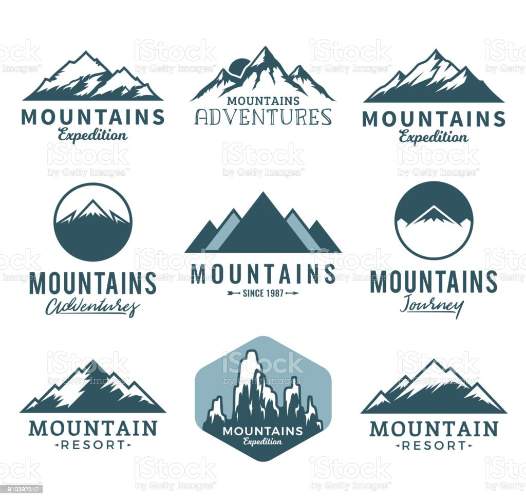 Vector mountains icons vector art illustration