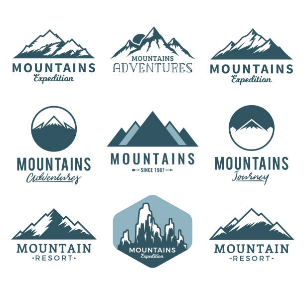 Vector mountains icons Vector mountains, rocks and peaks icons isolated on white. mountains stock illustrations