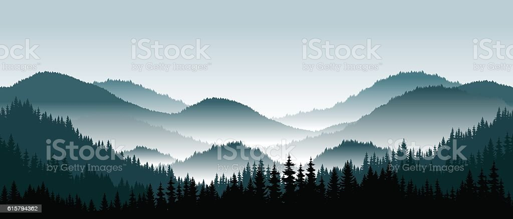 Vector mountains landscape with fog - seamless background. vector art illustration