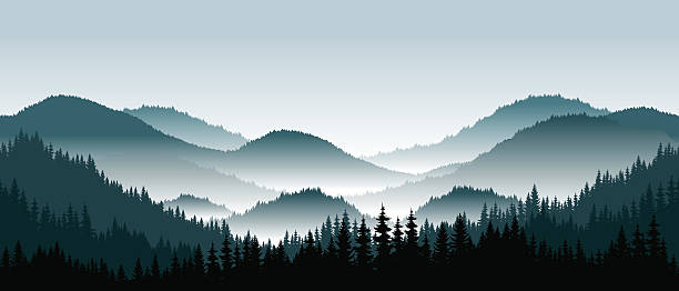 Vector mountains landscape with fog - seamless background. Vector mountains landscape with fog - seamless background. mountains in mist stock illustrations