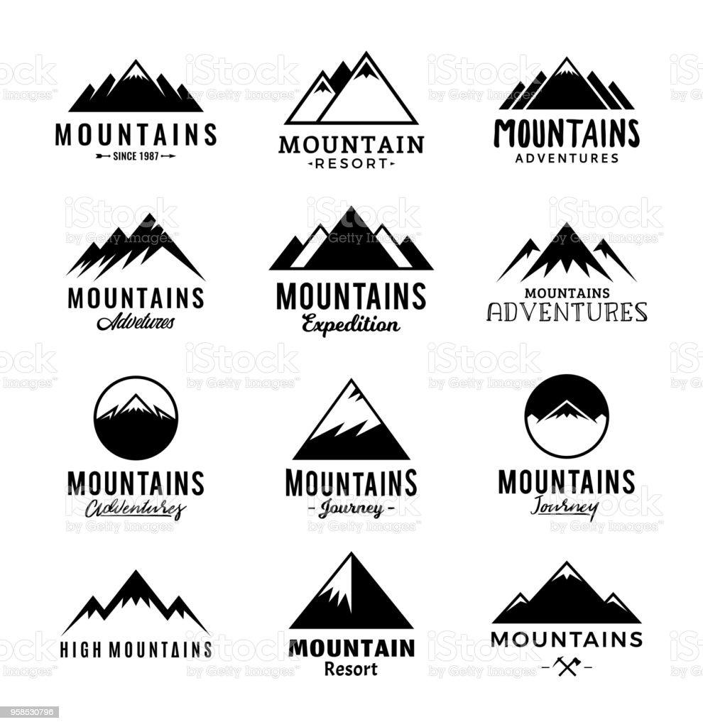 Vector mountains logo vector art illustration