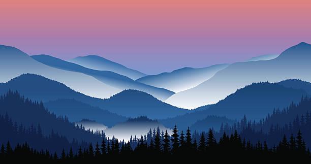 Vector mountains morning landscape - seamless background. Vector mountains morning landscape - seamless background. mountains in mist stock illustrations