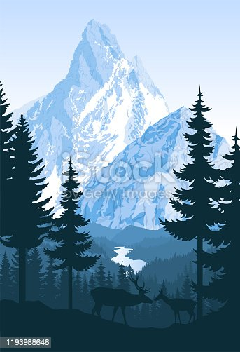 vector mountains with river and couple of white tailed deers