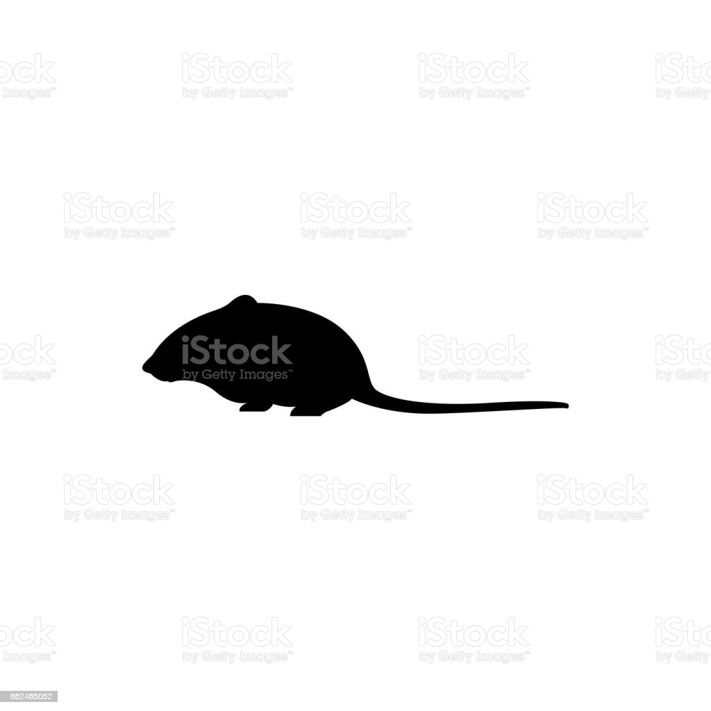 Vector Mouse Silhouette View Side For Retro Icons Emblems Badges