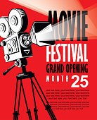 Vector movie festival poster with old movie camera