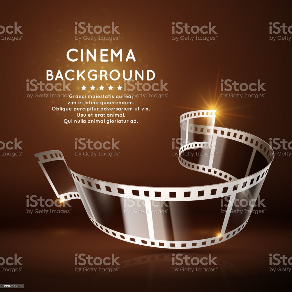 Vector Movie Poster With Film 35mm Roll Vintage Cinema Background Royalty Free