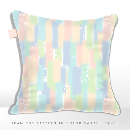 Vector Multi Pastel Rainbow Colors Iridescent Overlapping Abstract Paints Seamless Pattern with Irregular Geometric Flakes, Cushion Design.