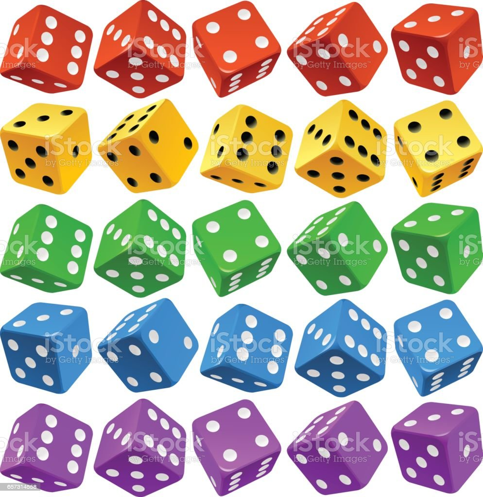 Vector multicolor dice set vector art illustration