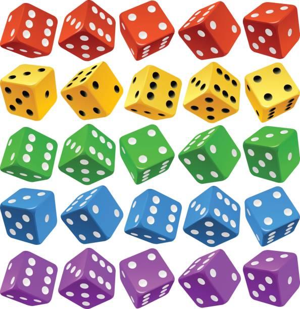 vector multicolor dice set - dice stock illustrations, clip art, cartoons, & icons