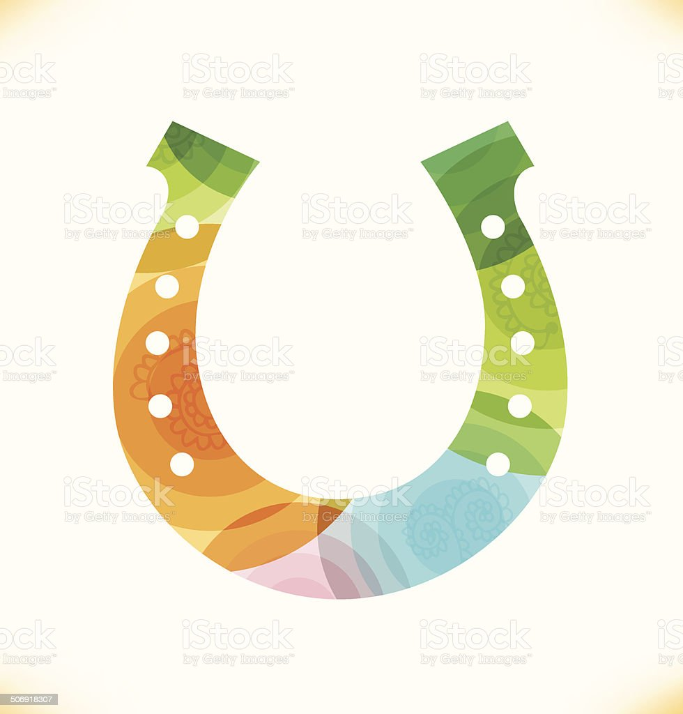 Vector multicolor horseshoe vector art illustration