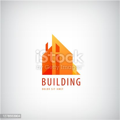 Vector multicolored real estate icon designs for business visual identity, building, cityscape icon, houses, architecture construction. geometric flat style