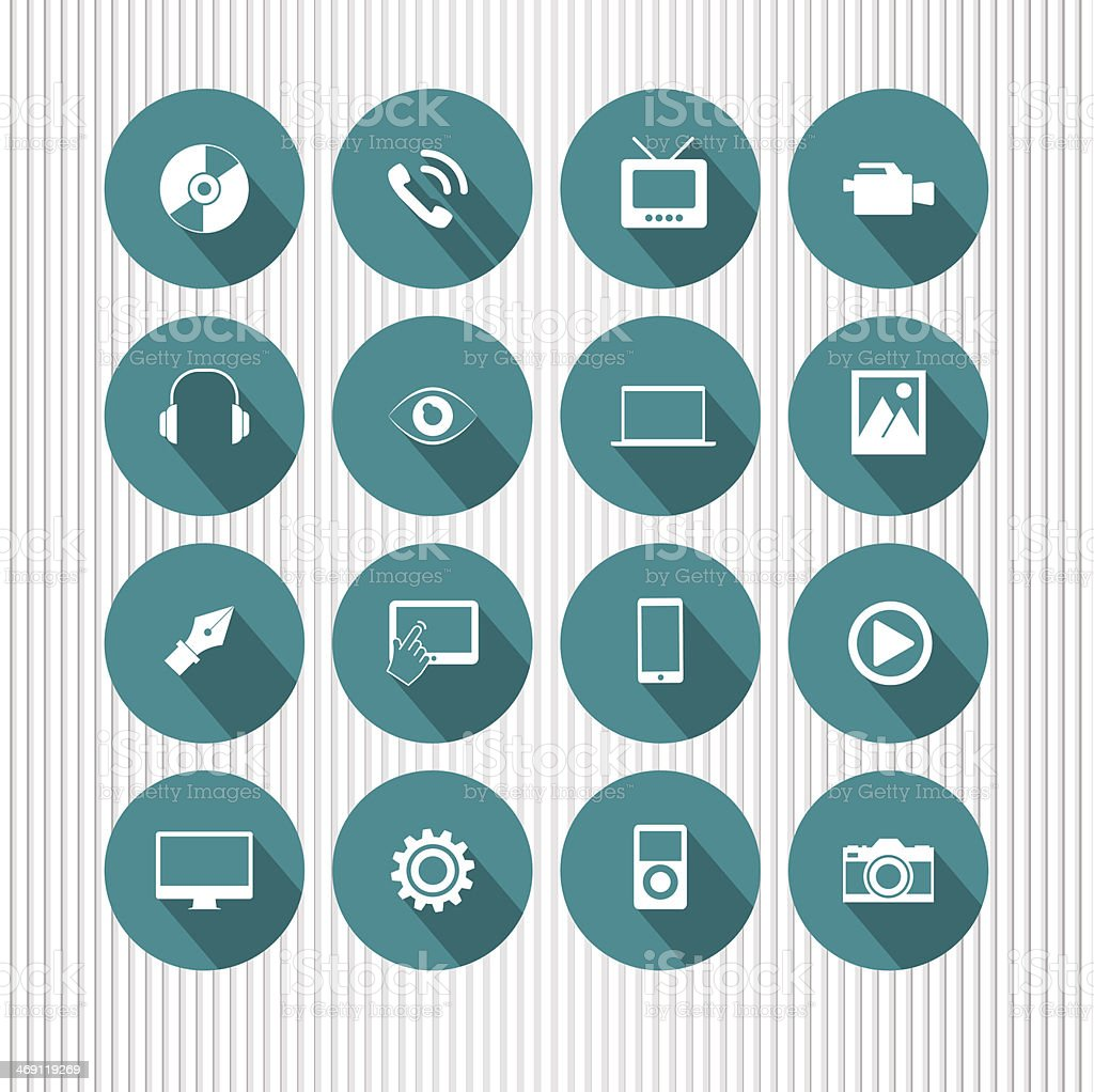 vector multimedia icons royalty-free stock vector art