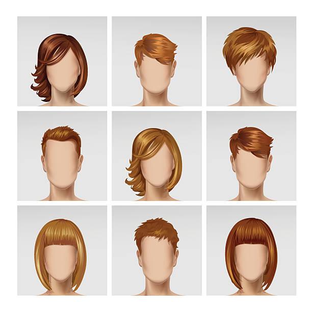 ベクトル多国籍雄雌アバターヘッドにマルチカラーの毛セット - 髪型点のイラスト素材/クリップアート素材/マンガ素材/アイコン素材