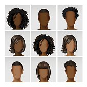 Vector Multinational Male Female Face Avatar Profile Heads with Hairs