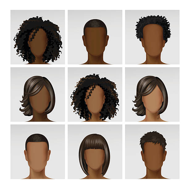 vector multinational male female face avatar profile heads with hairs - hairstyle stock illustrations, clip art, cartoons, & icons