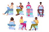 istock Vector multinational student collection with diverse young people sitting on books learning online. 1273894367