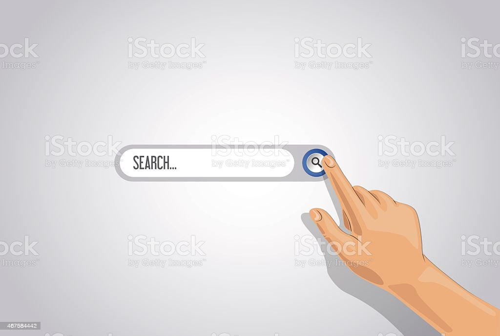 Vector multi-touch gesture with search button for tablets or smartphone..